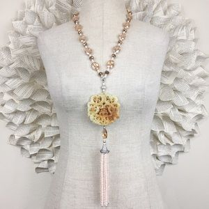 Carved Asian Style Medallion Necklace With Tassel